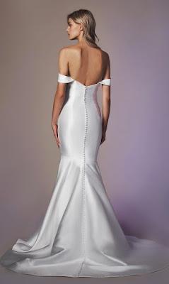 Anne Barge Strapless simple off the shoulder fit and flare bridal dress back design