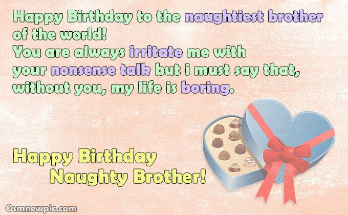 happy birthday wishes for Naughty brother from sister