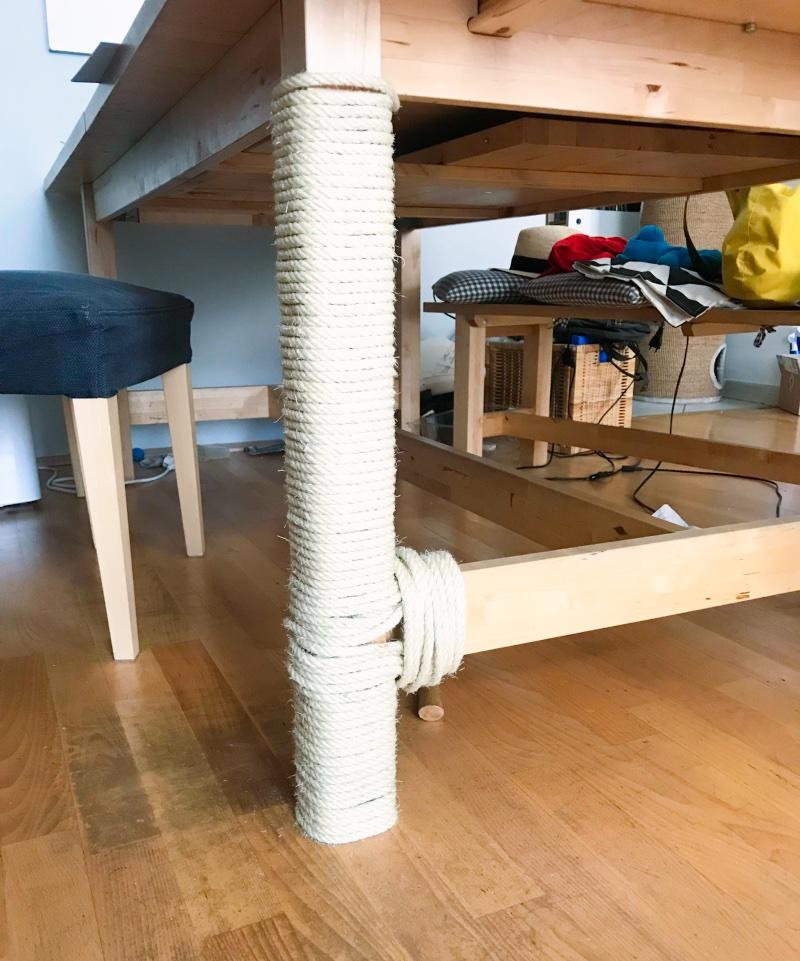 Katzen kratzen Möbel, Kratzmöglichkeit selber machen