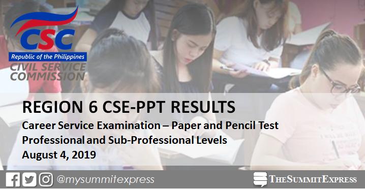 Region 6 Passers List: August 2019 Civil Service Exam Result CSE-PPT