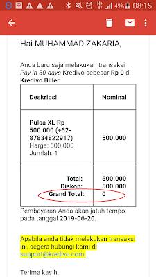 Bukti Pembayaran Pulsa Gratis dari Aplikasi Kredivo