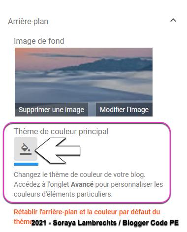 Formulaire de la couleur principale (keycolor) dans le concepteur de thèmes Blogger.