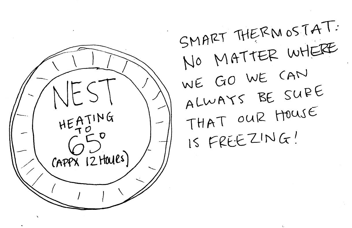 hillary boone cartoons  smart thermostat
