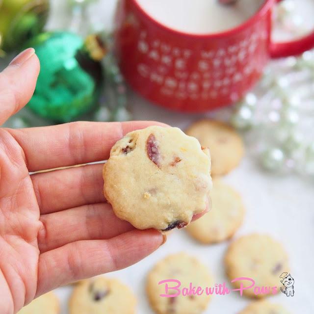 Cranberry Lemon Shortbread Cookies