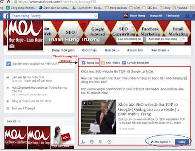 SEO trên trang cá nhân Facebook