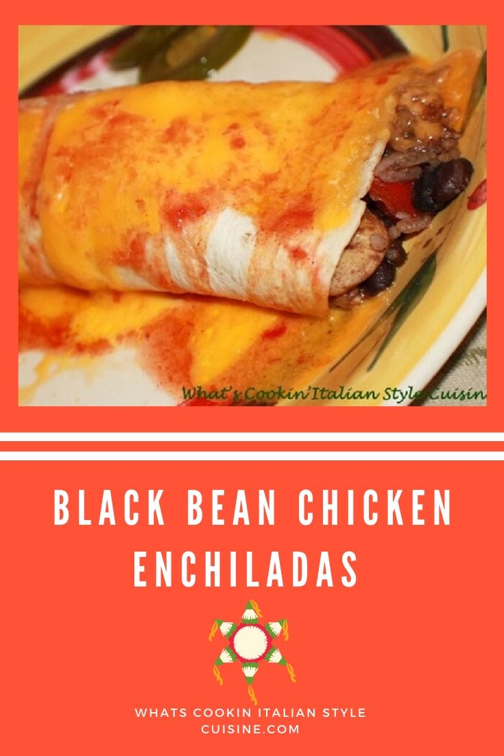 pin for later of Black Bean filled Enchiladas