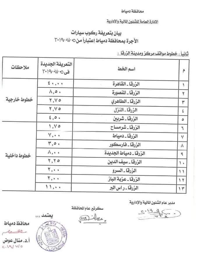 ننشر التعريفه الجديده للمواصلات داخل وبين المدن المصرية بعد زياده اسعار الوقود بجميع المحافظات FB_IMG_1562330238745