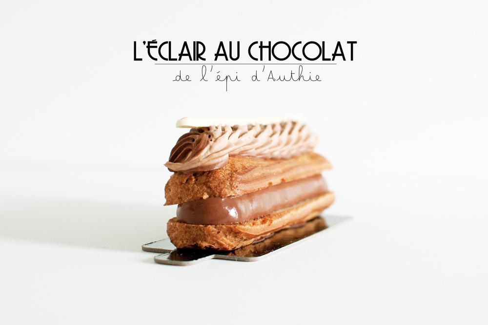 vue latérale de l'éclair au chocolat de la boulangerie l'épi d'Authie
