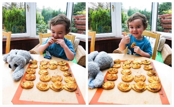 Making vegan pesto cheese swirls - step 5 - Boy tasting the pastries
