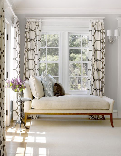 settee under window trellis drapes curtains corner living room decorating