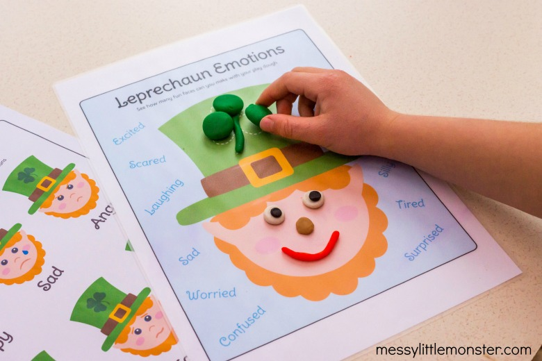 St Patricks Day Playdough Emotions Activity