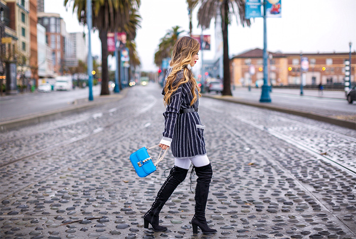 Two by vince camuto hooded cardigan, hooded cardigan, stripe cardigan, asos jeans, steve madden over the knee boots, baublebar earrings, valentino rockstud lock bag, white ribbed sweater, hermes belt, san francisco street style, san francisco fashion blog, winter outfit ideas