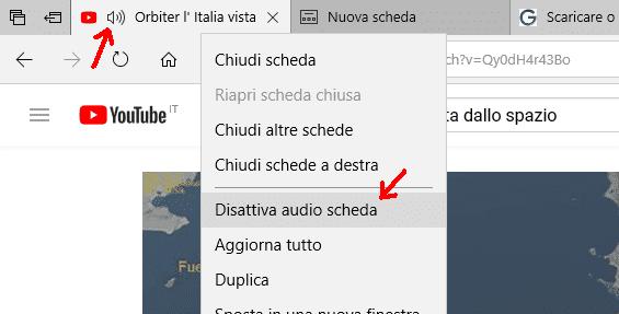 Microsoft Edge disattivare audio scheda internet.PNG