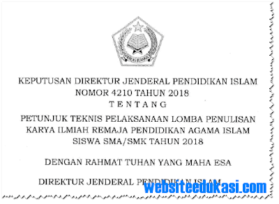 Juknis Lomba Karya Ilmiah Remaja PAI SMA/SMK Tahun 2018