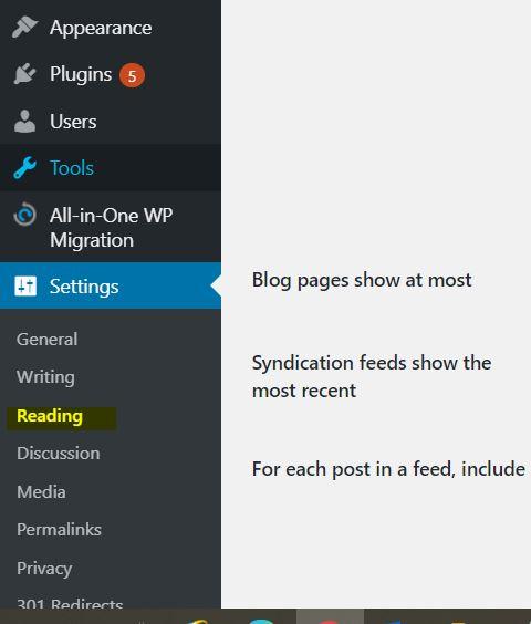 Creada la pagina ahora es el momento de asignarla para que cargue al inicio de su sitio web. En el mismo menú de la izquierda bajemos a la opción que dice Ajustes o Settings y selecciona la opción que dice Reading o Lectura.