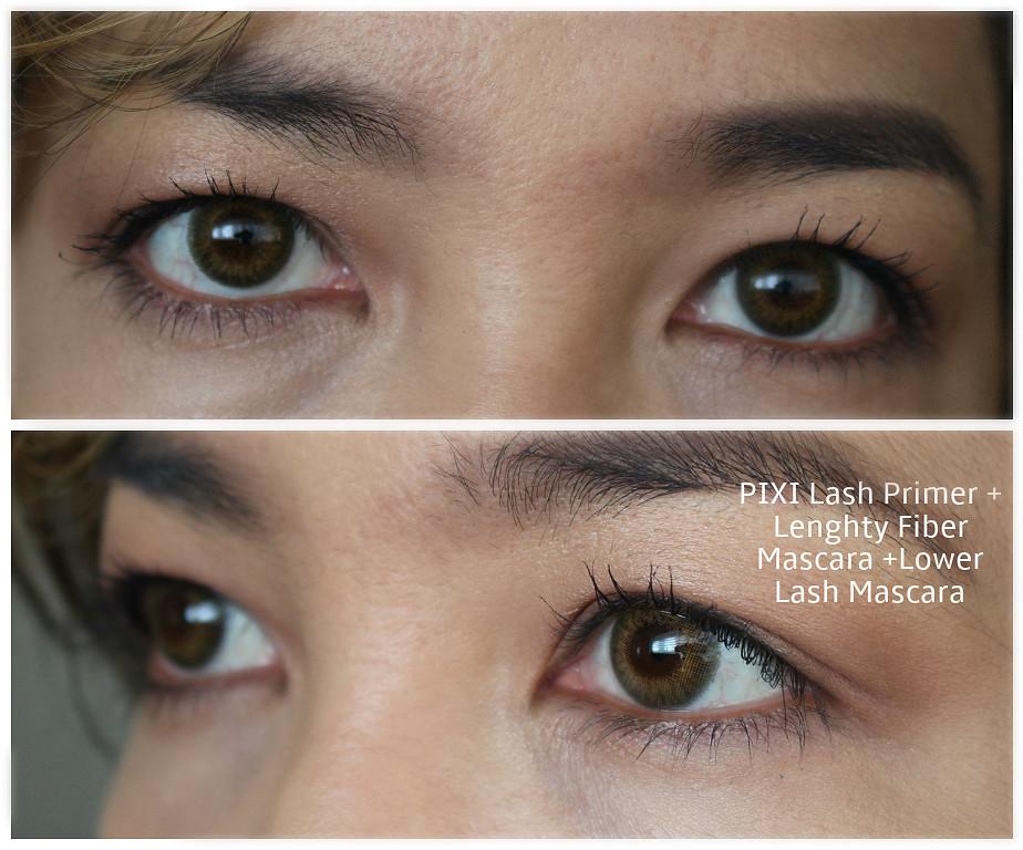 pixie black lacquer lash primer, pix lash booster mascara, pix lengthy fiber mascara, pix lower lash mascara
