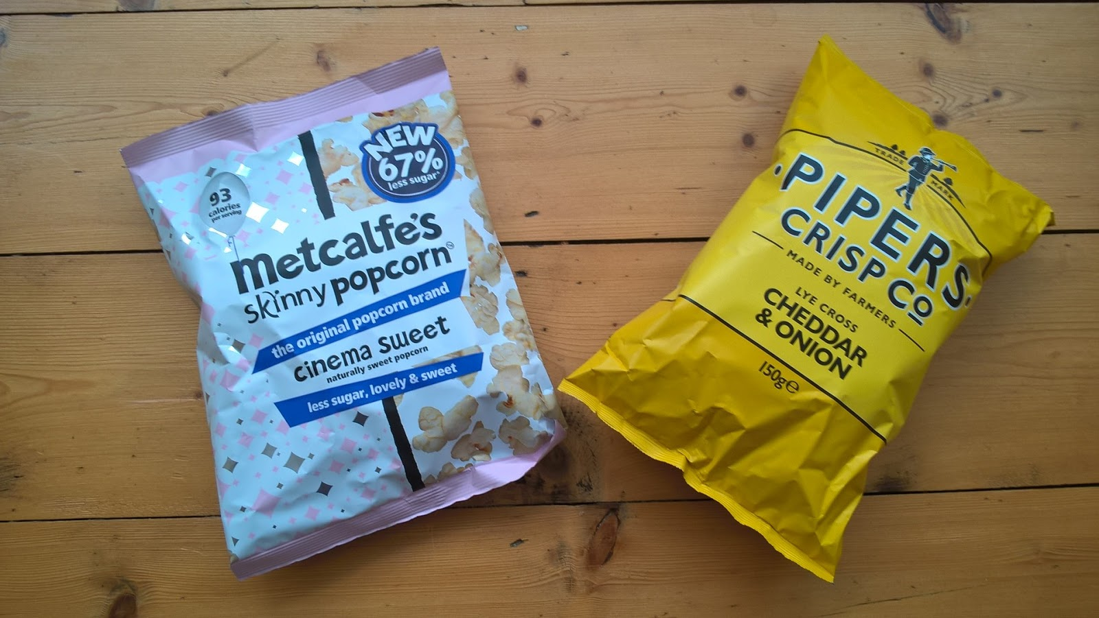Metcalfe's Skinny Popcorn in Cinema Sweet, Pipers Cheddar & Onion Crisps - food subscription boxes - motherdistracted.co.uk