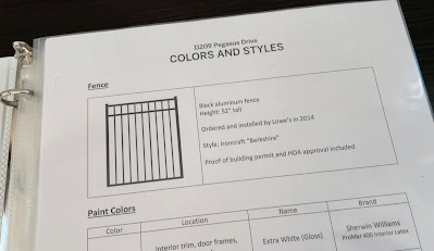color and style guide for house showing binder