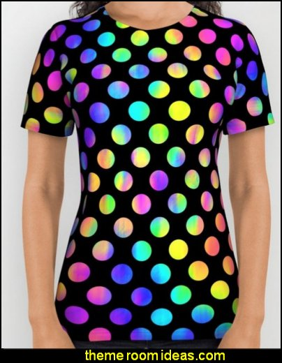 Rainbow Polka Dot All Over Print Shirt womens tshirts womens clothing womens tops