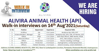 Alivira Animal Health Ltd Recruitment 2021 For Officer and Executive    Walk In Interview