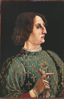 Piero Pollaiuolo's portrait of Galeazzo, which is kept by Uffizi in Florence