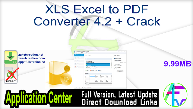 XLS Excel to PDF Converter 4.2 + Crack