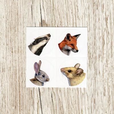 Watercolour british wildlife vinyl stickers
