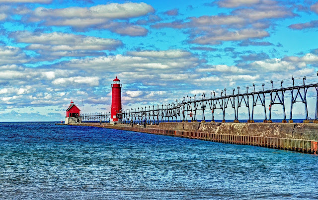 Grand Haven, Michigan Lighthouse on Lake Michigan