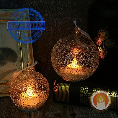 Đèn cầy điện tử quả châu thuỷ tinh
