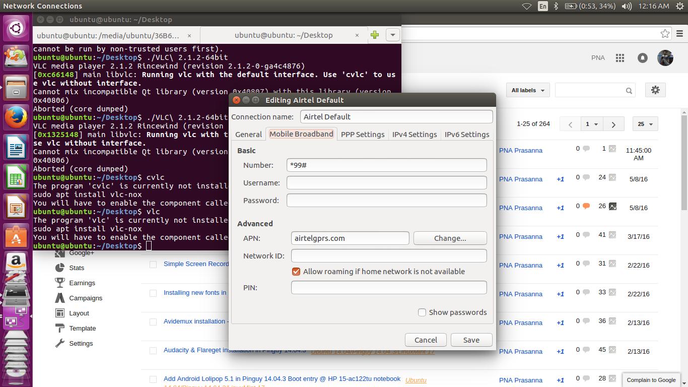 Linux Ocean: Airtel 4G in Ubuntu 16 04 LTS
