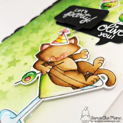 Olive You, Let's Party Card by Samantha Mann for Newton's Nook Designs, Distress Inks, Ink Blending, Birthday, Cards, Handmade Cards, Birthday Card, Stencil, Speech Bubbles, Martini, #newtonsnook #distressinks #inkblending #birthdaycard #cards #cardmaking