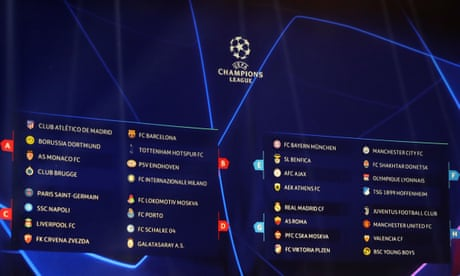 UEFA Champions League draw - Groups A to H revealed