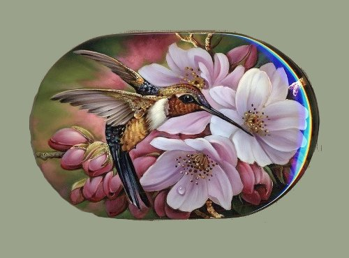 Nadezda 39 s northern garden lacquer flower miniature for Bright flower painting