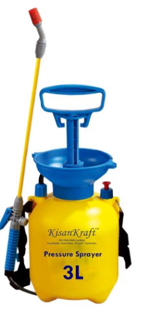 Kisan Kraft KK-PS3000 Manual Sprayer (3 Litre, Multicolour, Plastic)