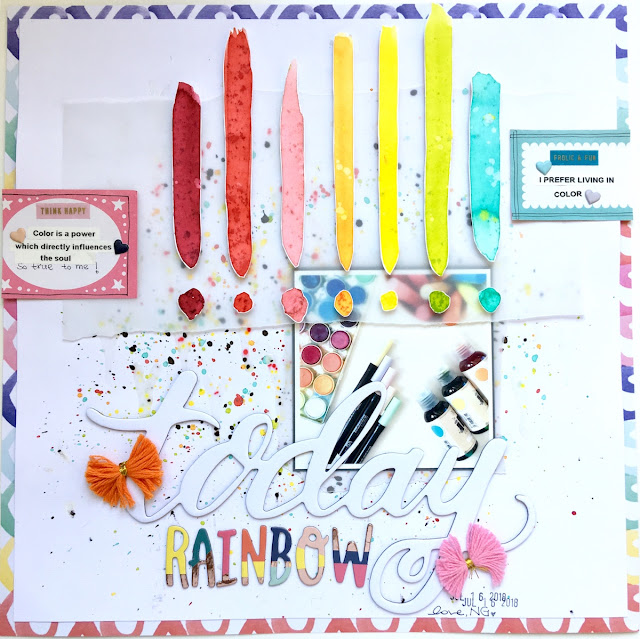 Today Rainbow Scrapbook Layout by Angela Tombari