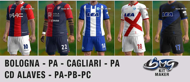 Bologna, Cagliari, & CD Alaves 2017-2018 Kits PES 2013