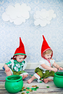 Twins dressed up in gnome costumes for Halloween