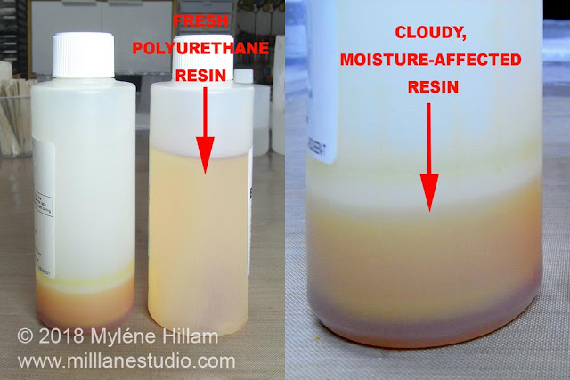 Two bottles of polyurethane resin, side by side: one looks milky and cloudy from moisture and the fresh one is translucent. A close up view shows the moisture affected resin more clearly.