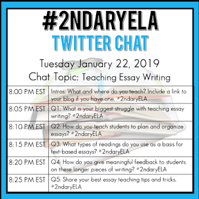 Join secondary English Language Arts teachers Tuesday evenings at 8 pm EST on Twitter. This week's chat will be about teaching essay writing.