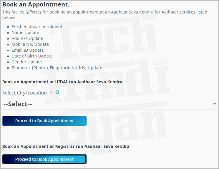 Aadhar Center Book Appointment