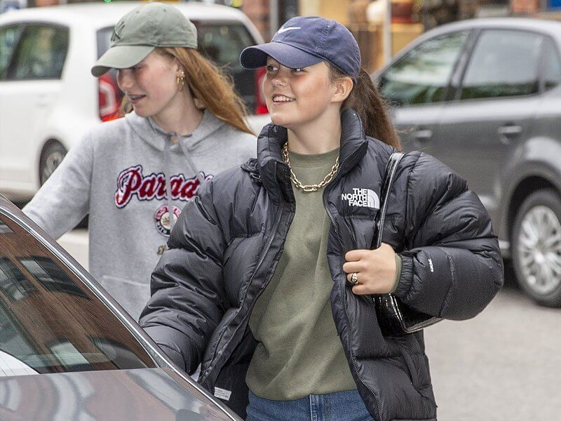 Danish Princess Isabella wore a black nuptse cropped down jacket from The North Face