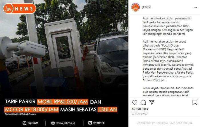 Pemerintah provinsi DKI Jakarta berencana akan menaikan tarif parkir kendaraan di Jakarta. Tangkap layar Instagram @jktinfo