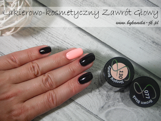 Lakiery hybrydowe Semilac 77 Brown Black i 130 Sleeping Beauty hybrydy swatch