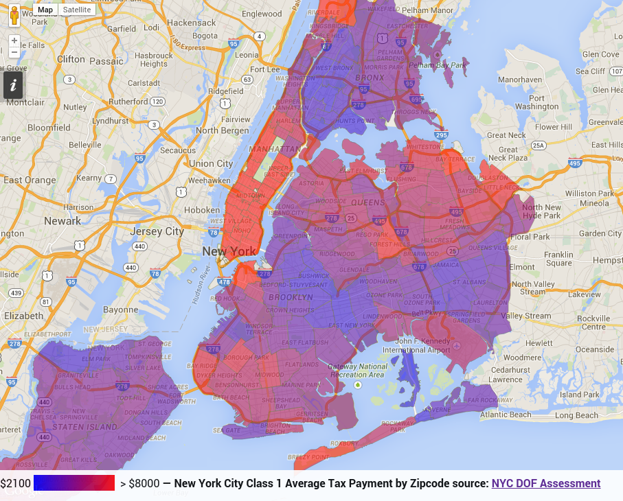 Nyc Dof Tax Map Timing: New York City Class 1 Average Property Tax Payment by