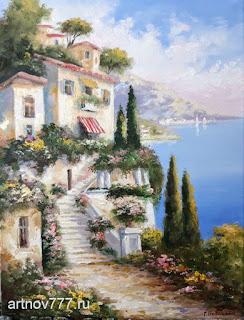 Картина Лестница к дому 30х40см.