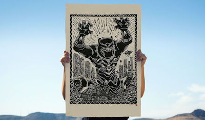 Black Panther Marvel Linocut Print by Attack Peter x Sideshow Collectibles