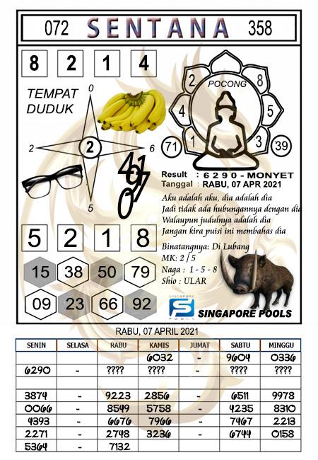 Syair Sentana SGP Rabu 07-04-2021