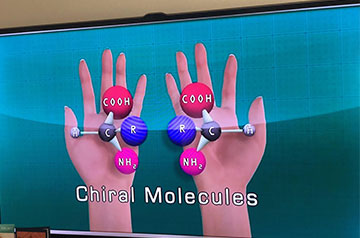 Example showing molecules displaying both right and left handed versions (Source: The Teaching Company)