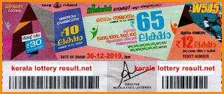 Kerala Lottery Result 30-12-2019 Win Win W-545
