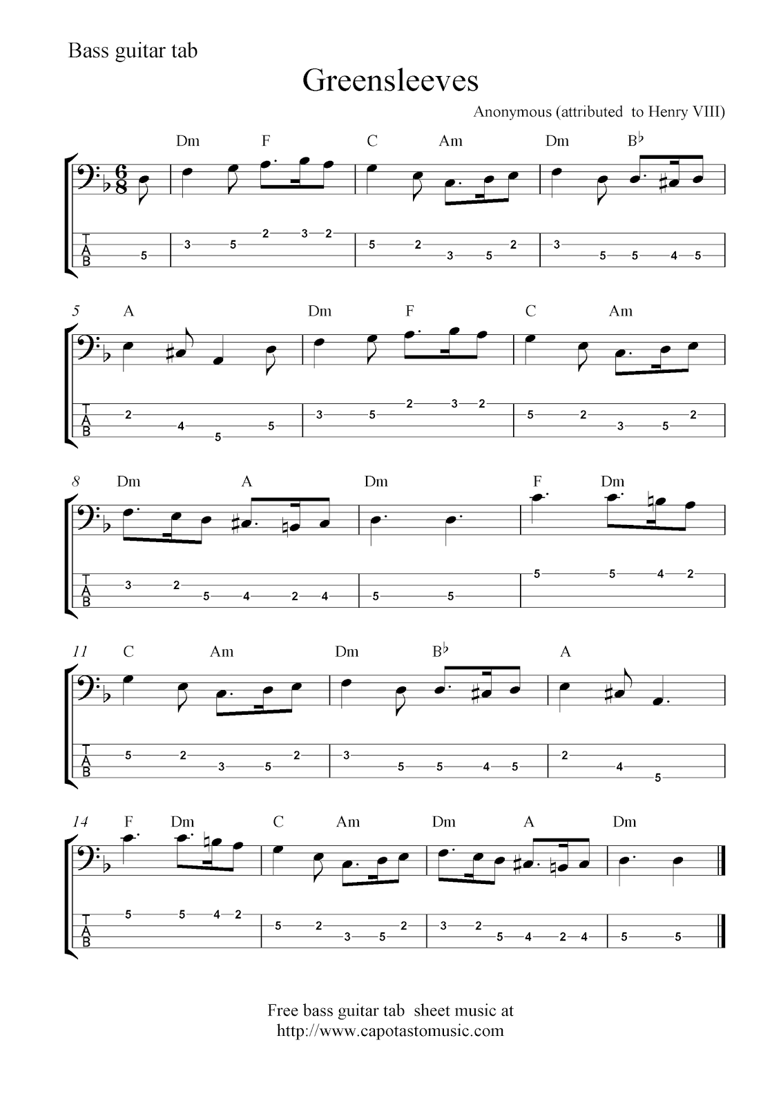 free bass sheet music - Music Search Engine at Search.com